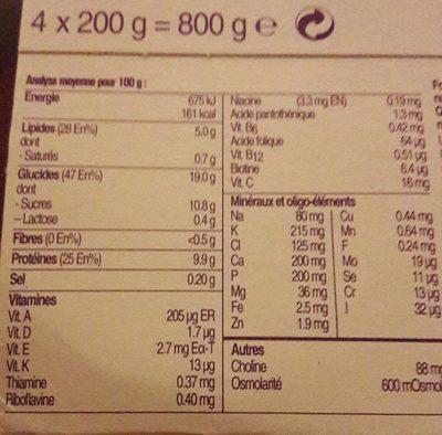 Fortimel vanille - Informations nutritionnelles