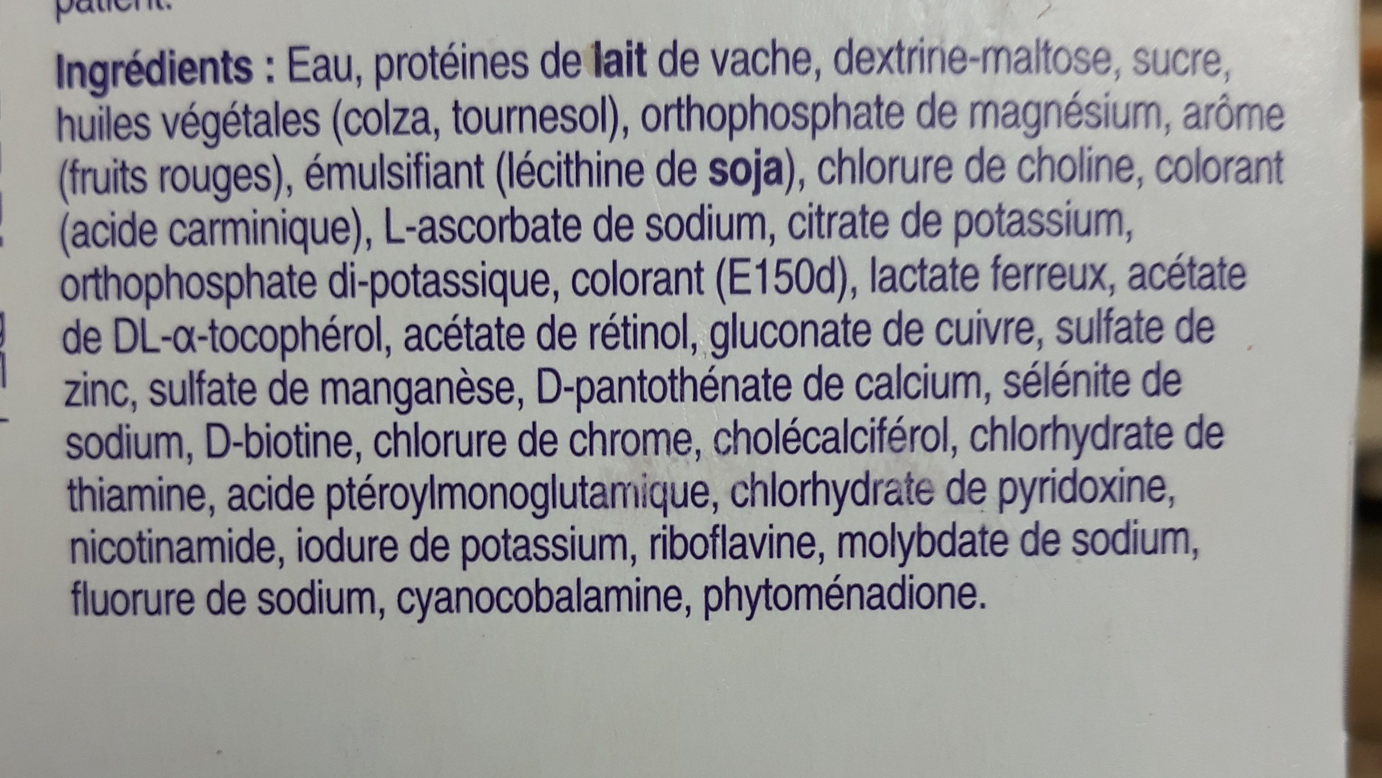 Fortimel - Ingrédients - fr