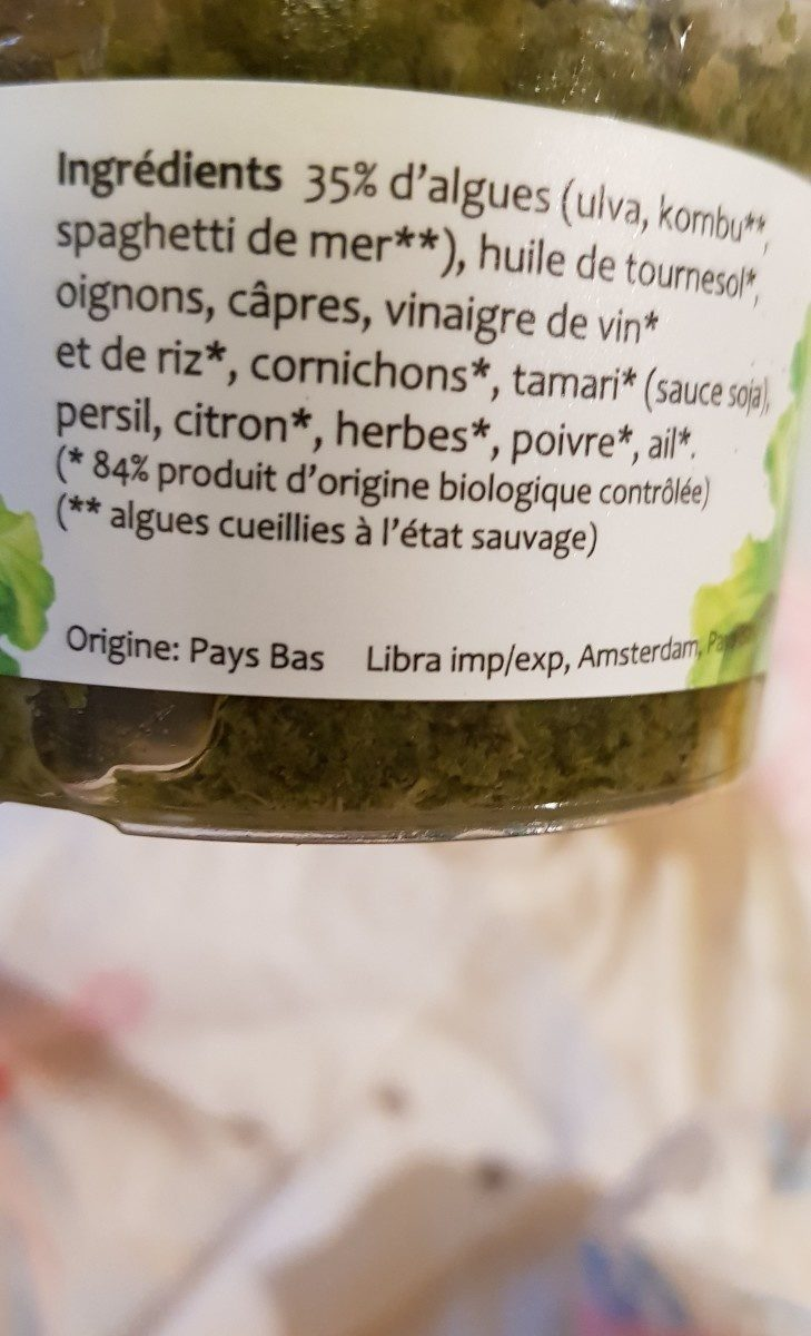 100G Roi Neptune Tartare D Algues - Ingrediënten - fr