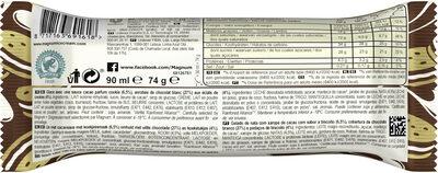Magnum Bâtonnet Glace Chocolat Blanc & Cookies 90ml - Ingrediënten