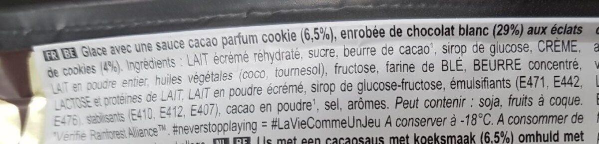 Bâtonnet Glace Chocolat Blanc & Cookies 90ml - Ingredientes - fr