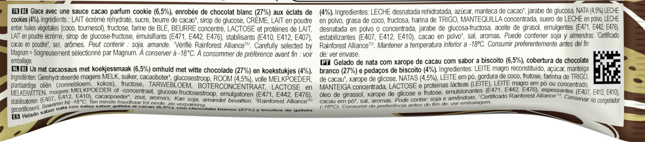 Magnum Bâtonnet Glace Chocolat Blanc & Cookies - Ingrediënten - fr