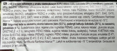 Magnum Bâtonnet Glace Chocolat Blanc & Cookies - Składniki - pl