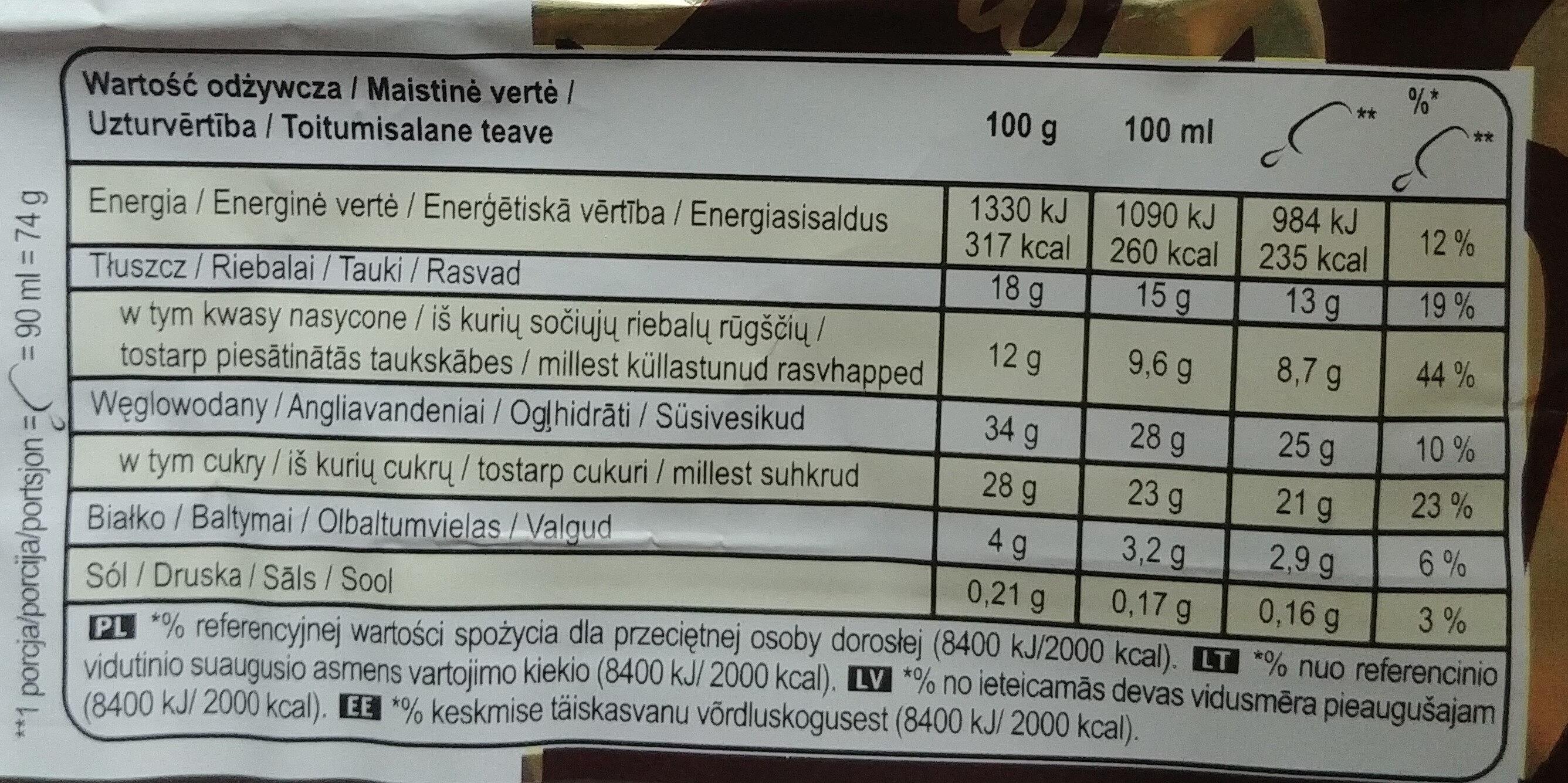 Magnum Bâtonnet Glace Chocolat Blanc & Cookies - Wartości odżywcze - pl
