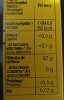 Harina de maiz - Información nutricional - es