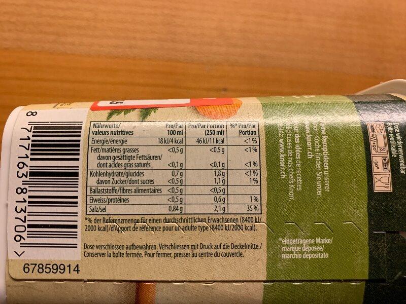 Gemüse Bouillon Pulver - Informations nutritionnelles - fr