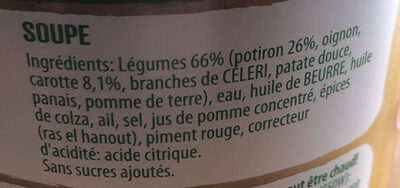 knorr 100%naturel potiron carotte - Ingredients