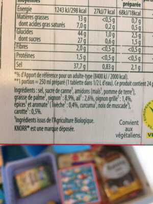 Knorr Bouillon Cubes Légumes Maxi Format 12 Cubes - Ingredients - fr