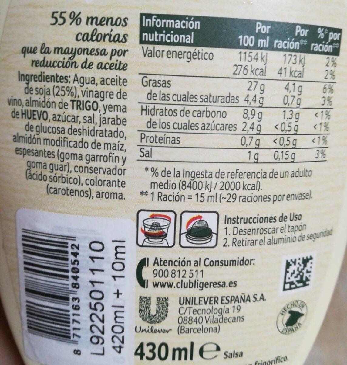 Mayonesa Ligeresa original - Informació nutricional