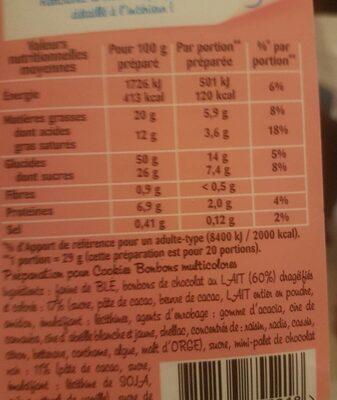 Préparation pour cookies bonbons - Informations nutritionnelles