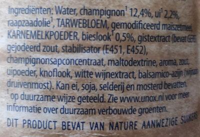 Romige champignonsoep met ui en bieslook - Ingredients - nl