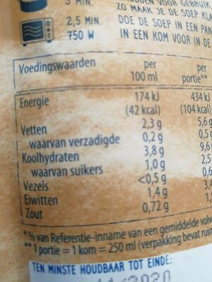 Romige champignonsoep met ui en bieslook - Nutrition facts - fr