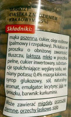 Markizy ciastka z nadzieniem kakaowym (25%) - Składniki - pl