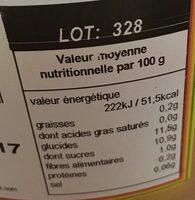 Salade de fruits Sun - Informations nutritionnelles