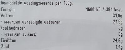 Jong Belegen Gouda kaas 48+ - Voedingswaarden - nl