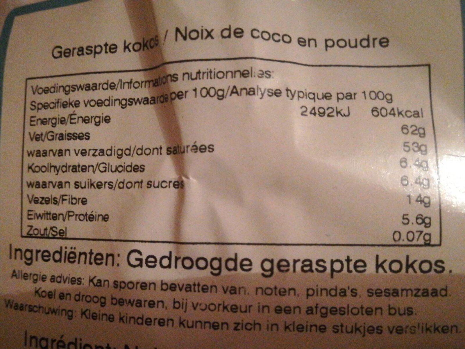 Noix de coco séchée - Nutrition facts - en