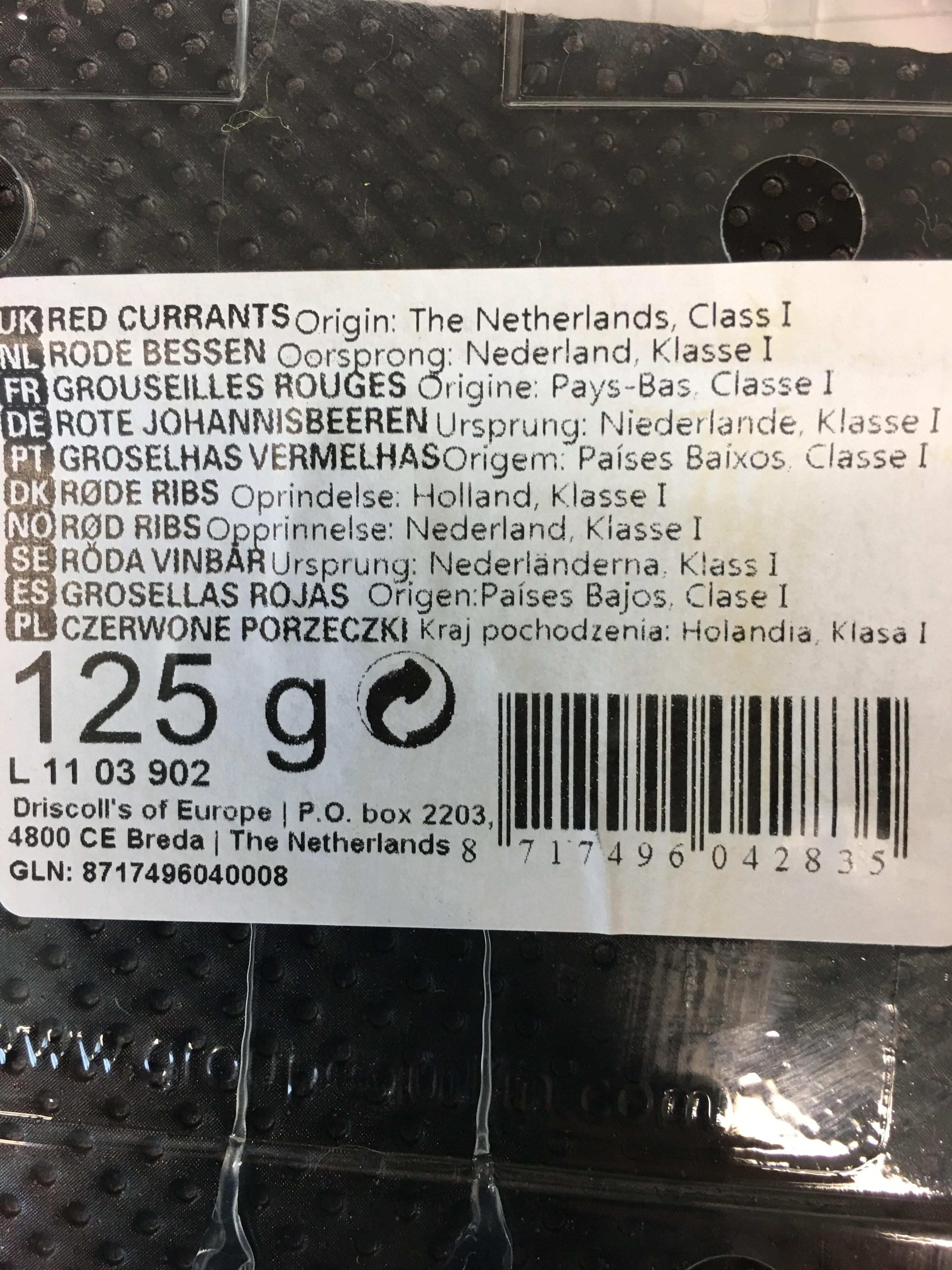 Groseilles rouges - Voedingswaarden