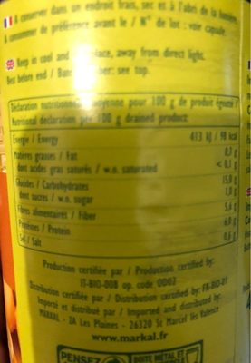 Gros haricots blancs - Nutrition facts