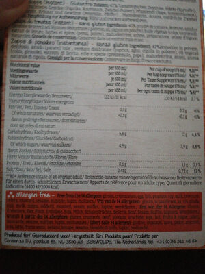 Tomato soup instant - Voedingswaarden - en