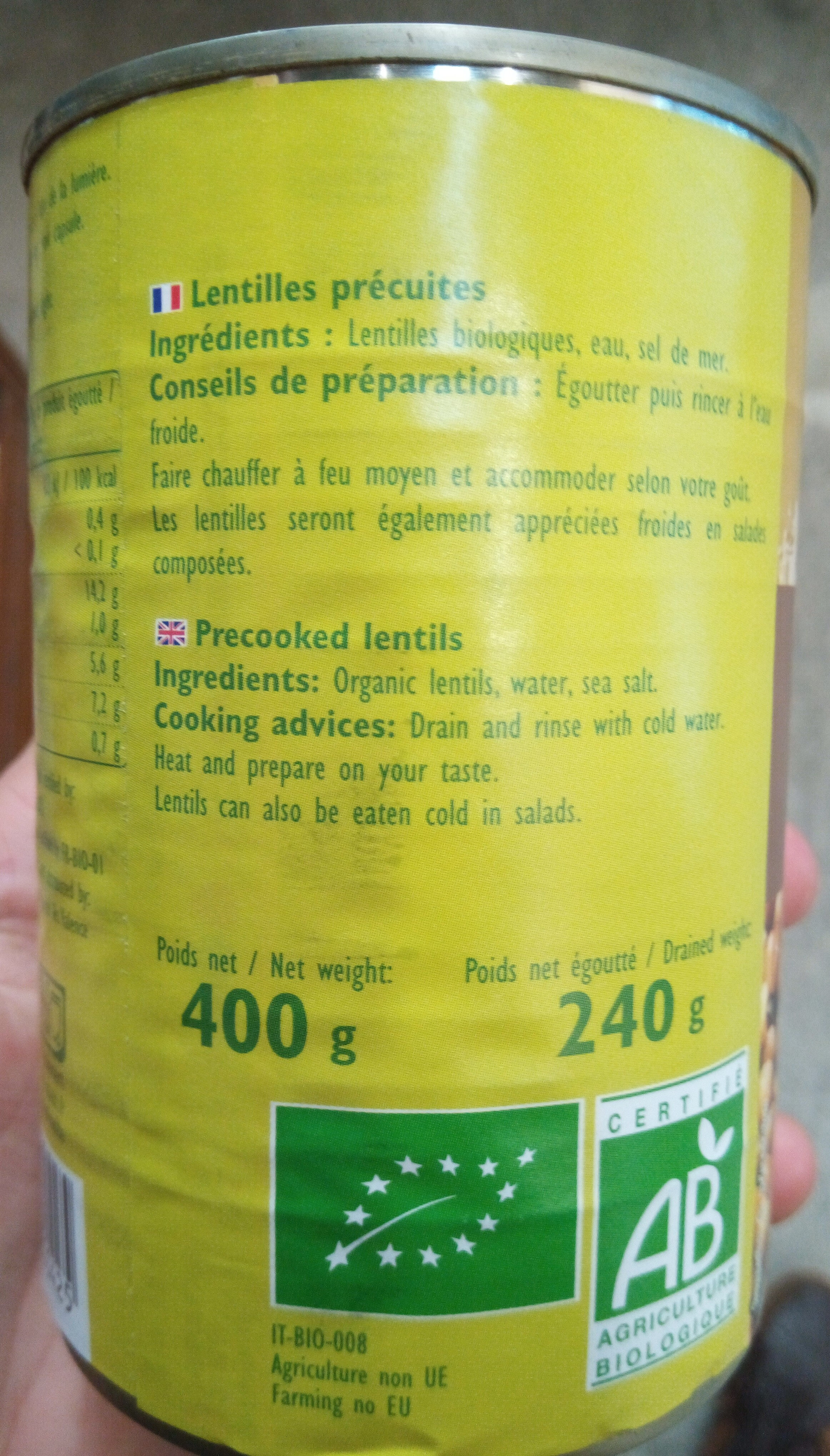 Lentilles - Ingrédients
