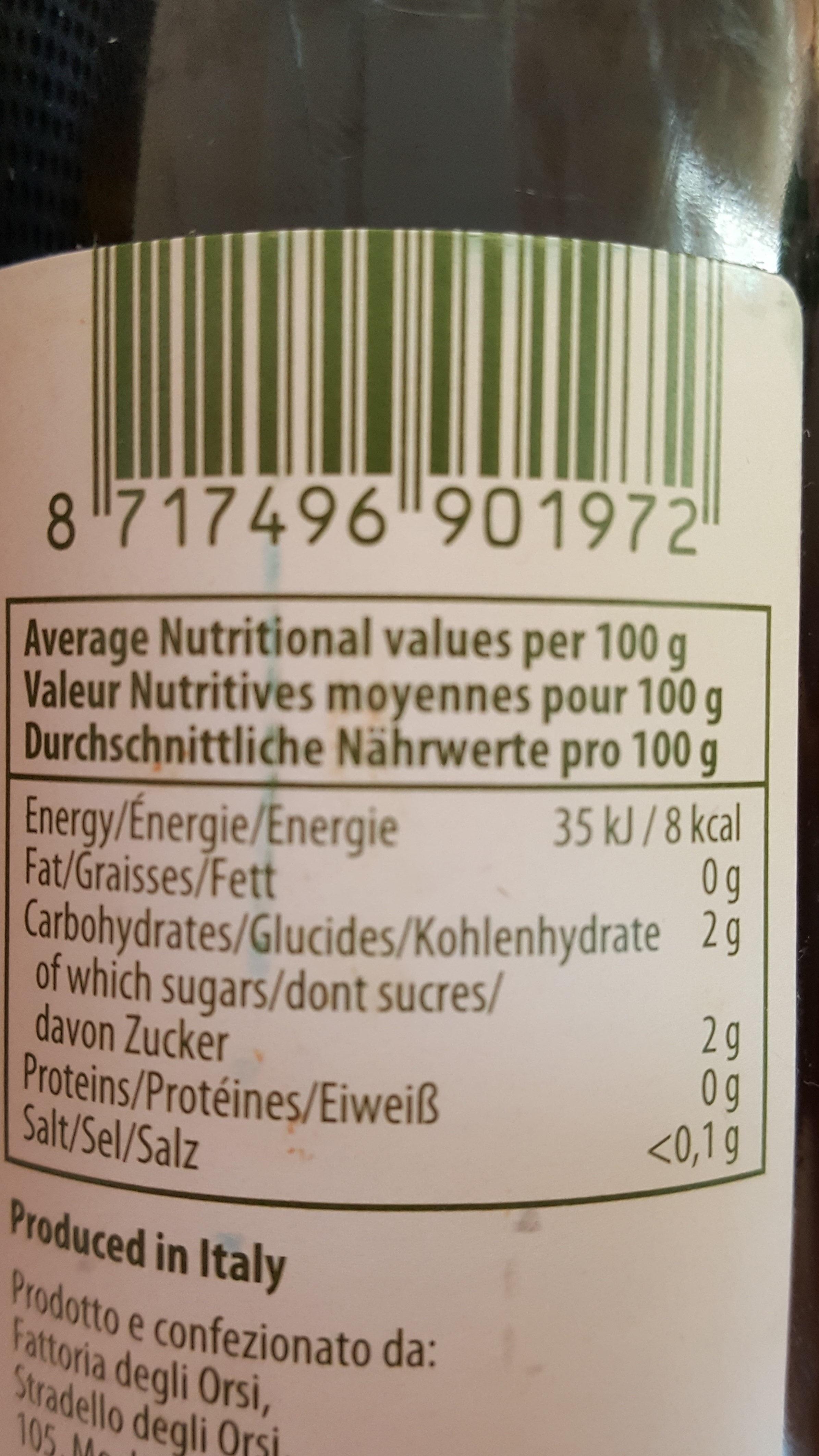 condimento bianco di Modena - Nutrition facts - nl