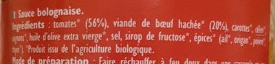 Sauce bolognaise 20 % de bœuf - Ingrédients - fr