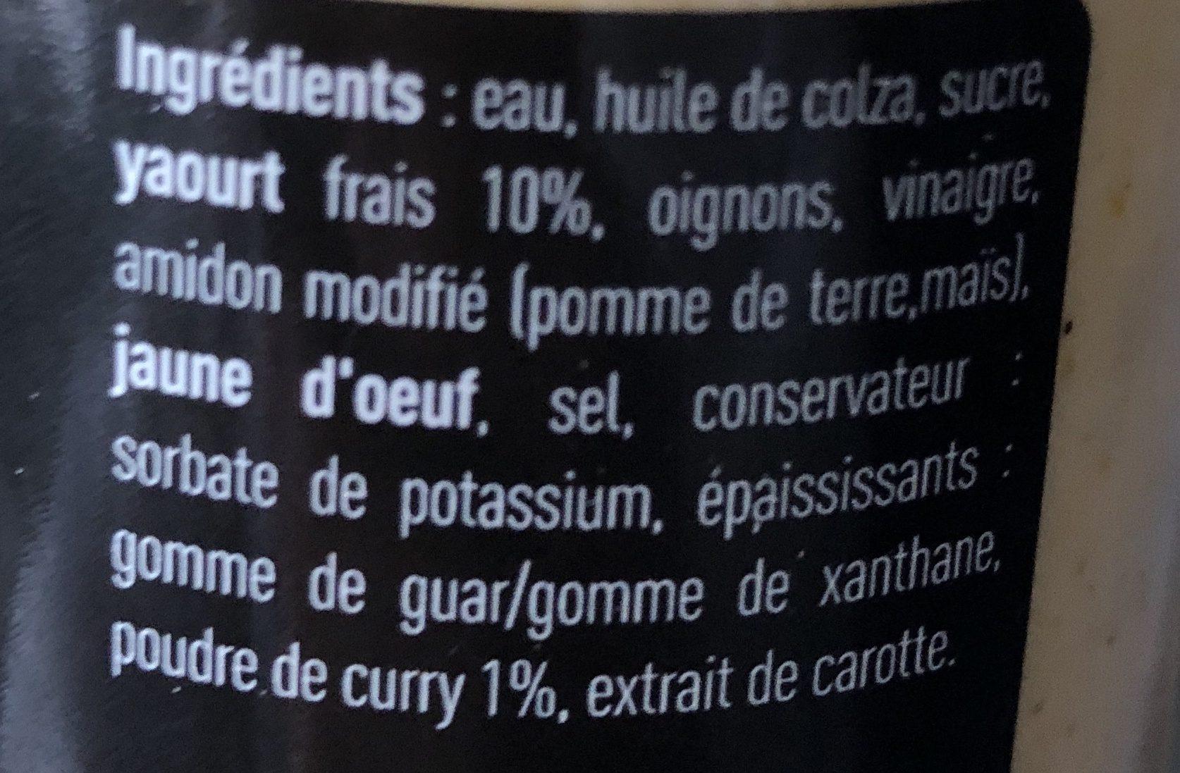 Sauce Yaourt Curry - Ingrédients