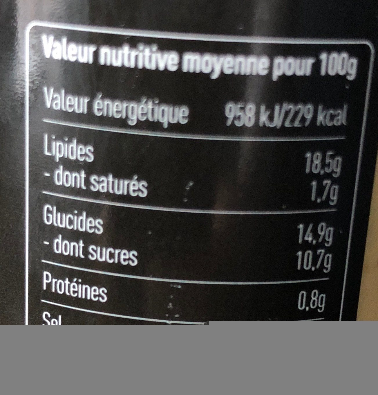 Sauce Yaourt Curry - Informations nutritionnelles