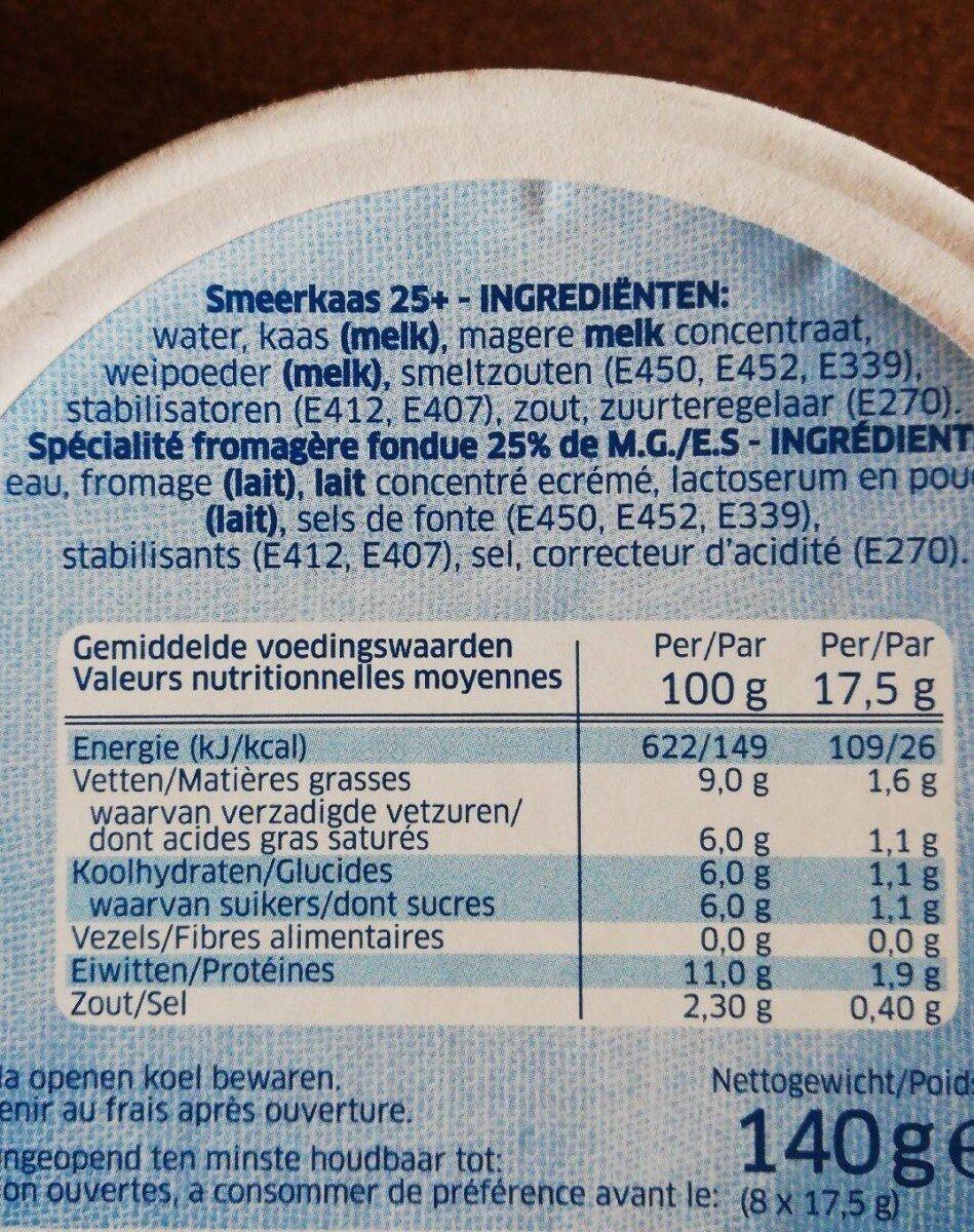 Fromage Fondu Naturel - Informations nutritionnelles - fr