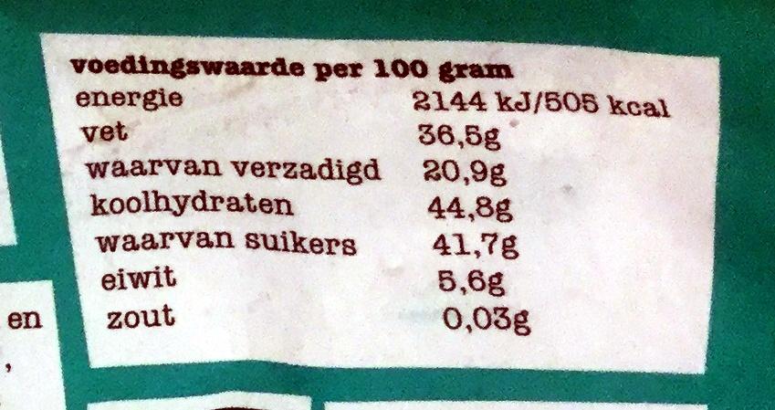Pecan kokos puur 51% - Voedingswaarden - nl