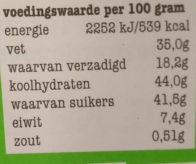 Puur 51% amandel zeezout - Nutrition facts