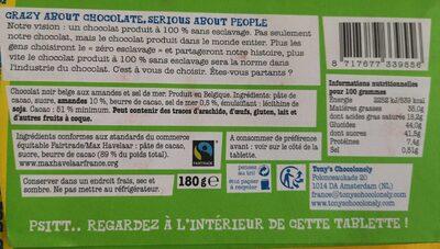 Chocolat noir, amandes et sel de mer - Nutrition facts - fr
