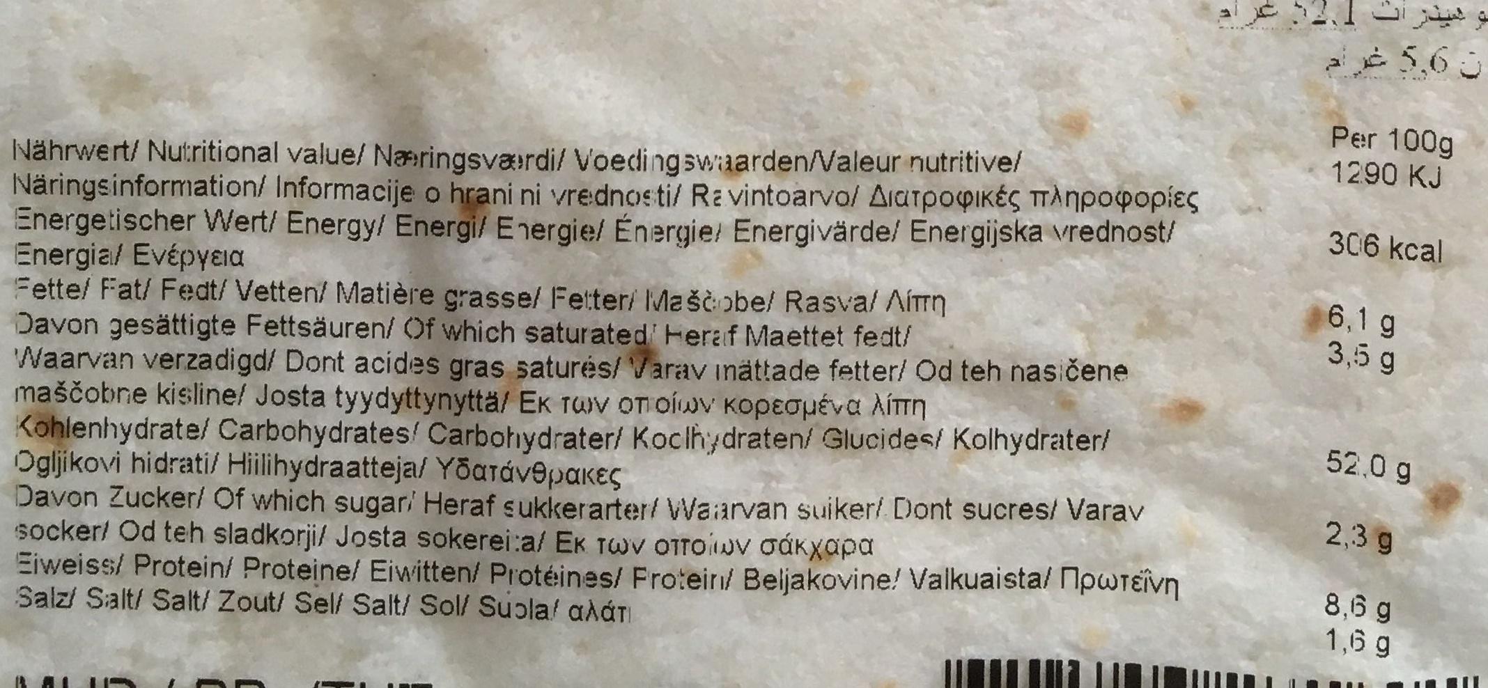 Durum Wraps - Informations nutritionnelles
