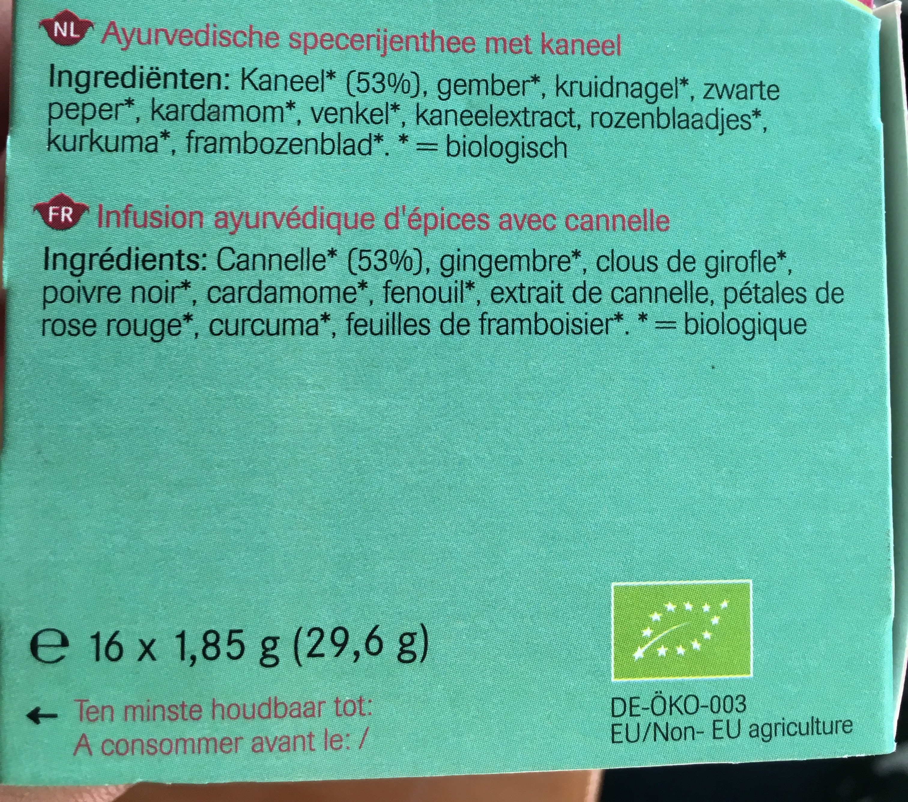 Harmony infusion aux herbs et epices - Ingredients - fr