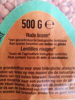 Lentille de Corail - Ingrediënten - nl