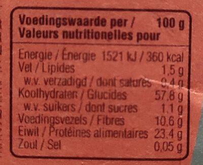 Lentille de Corail - Voedingswaarden - nl