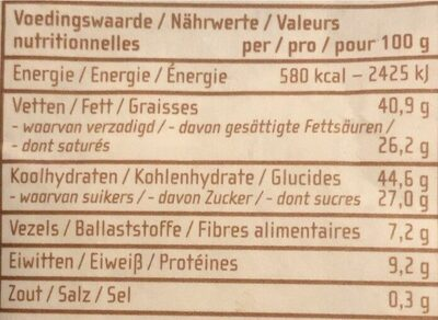 Chocolat au lait 40% sel de mer - Nutrition facts - nl