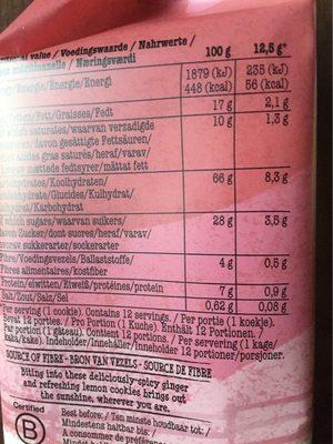 Farm Brothers Ginger & Lemon Cookies - Voedingswaarden