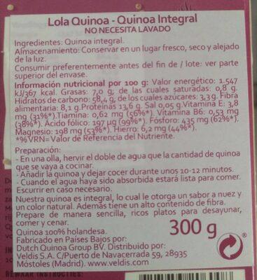 Quinoa Naturel - Voedigswaarden