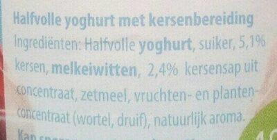 Halfvolle fruityoghurt kers - Ingrediënten