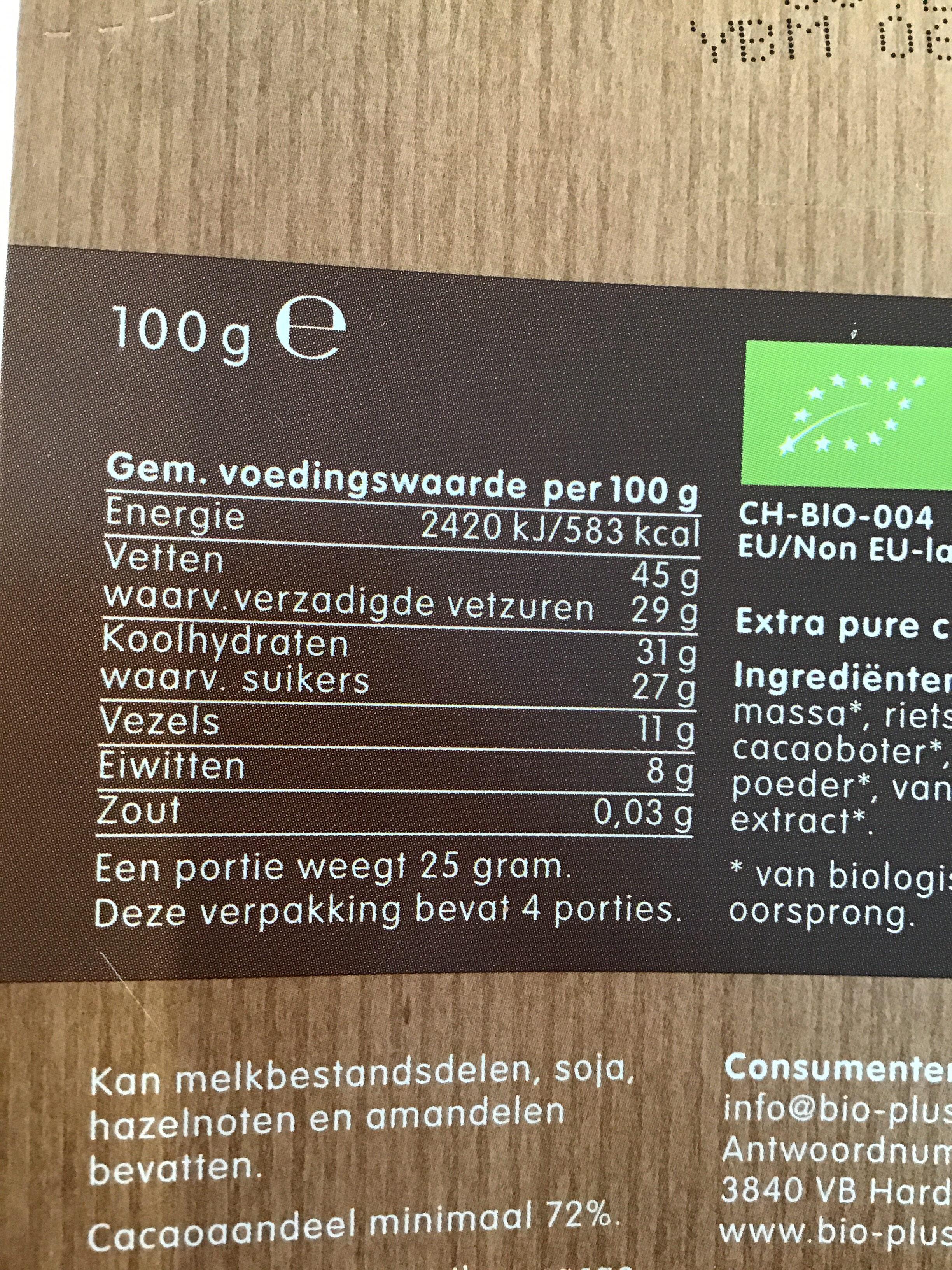 Zwitserse chocolade - Voedingswaarden - nl