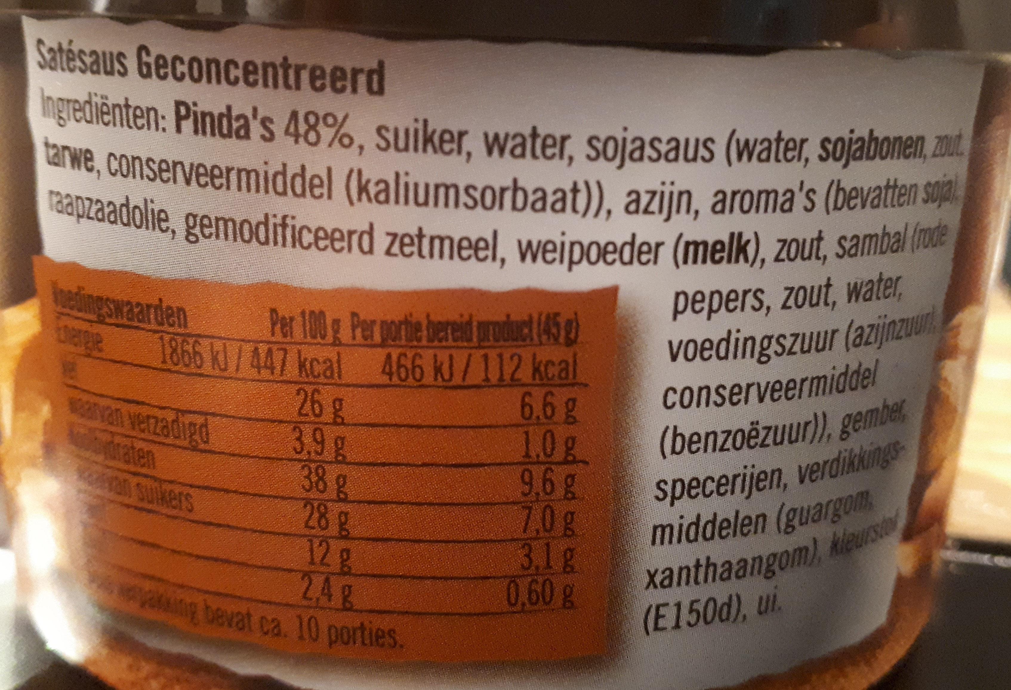 Satésaus - Ingredients - en