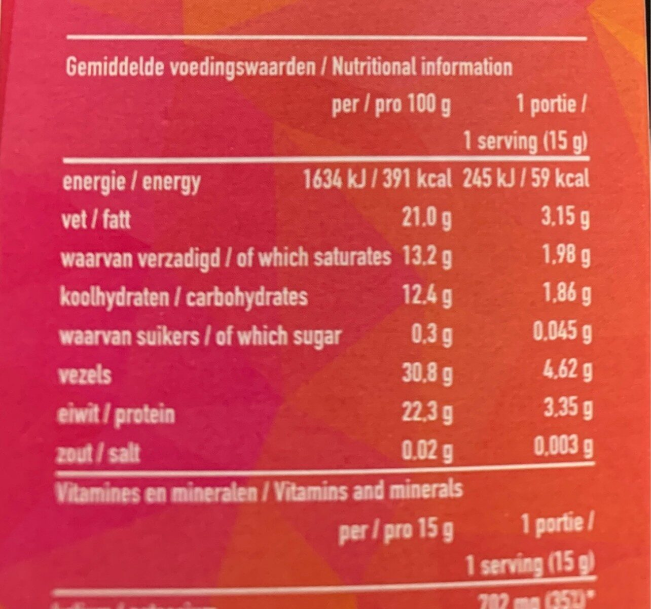 Cocoa powder organic - Informations nutritionnelles - nl