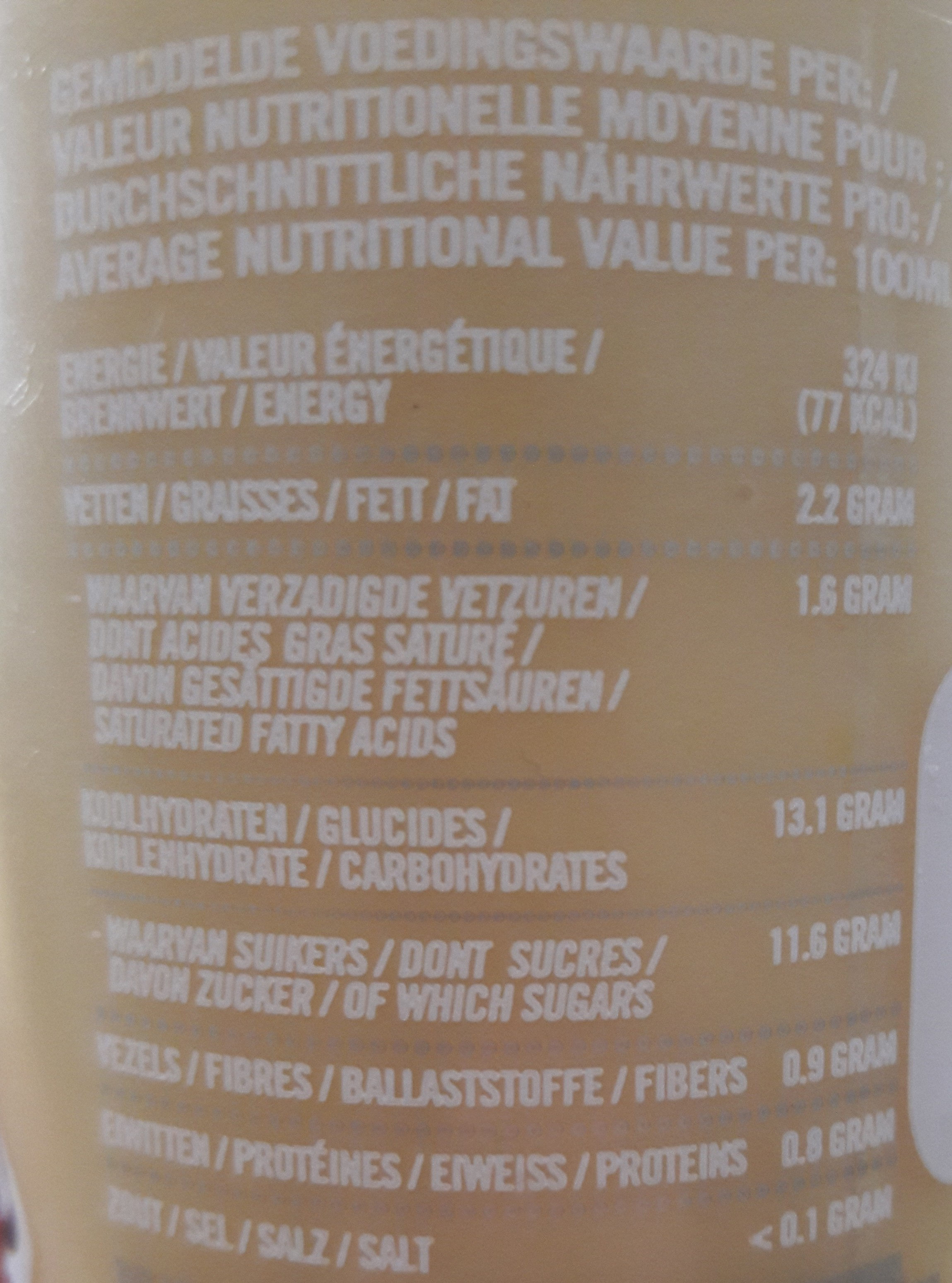 Smoothie ananas & coco - Nutrition facts - fr