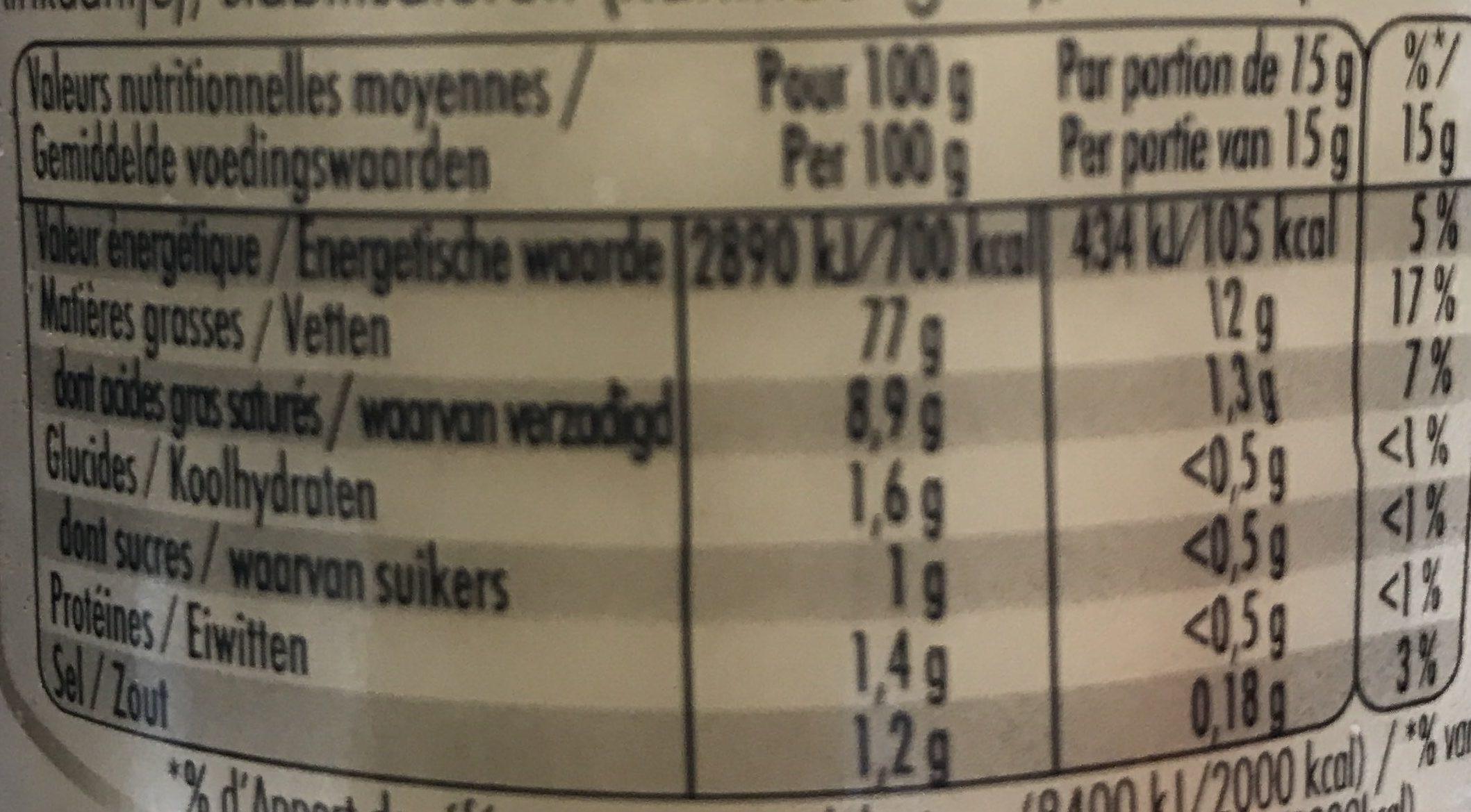 Maille Mayonnaise Fine Qualité Traiteur Bocal 320g - Voedingswaarden - fr