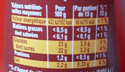Amora Ketchup Nature Top Up 826g - Informations nutritionnelles - fr