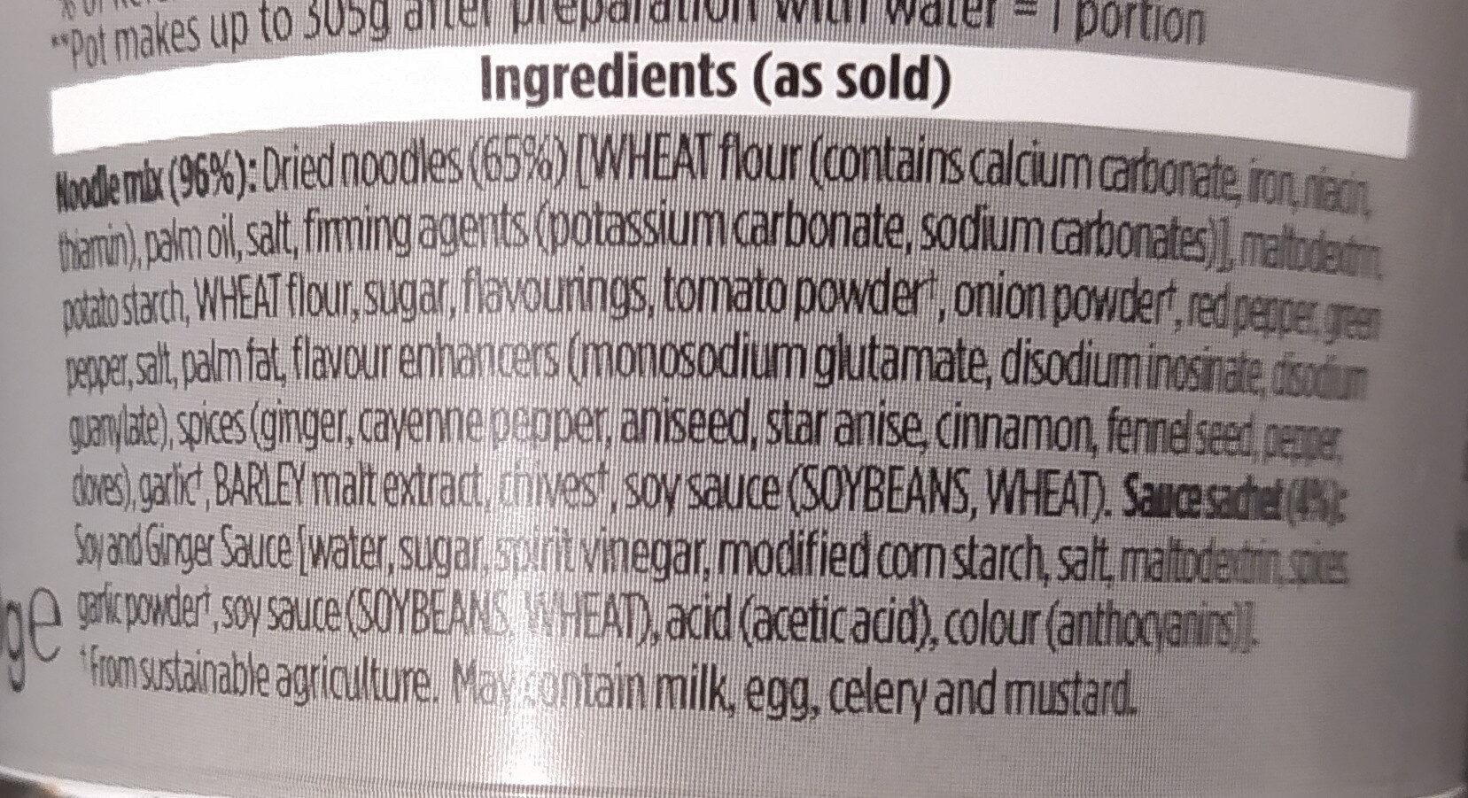 Pot Noodle Sticky Rib - Ingredients - en