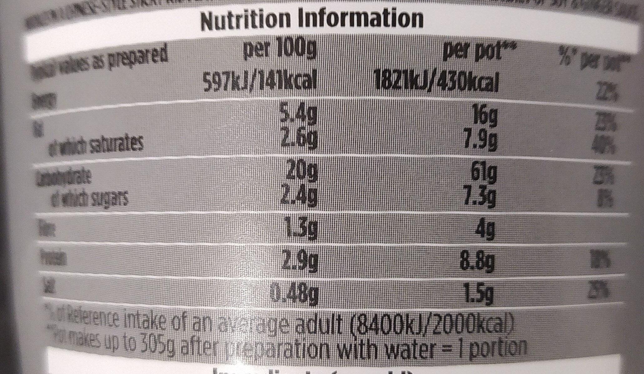 Pot Noodle Sticky Rib - Nutrition facts - en