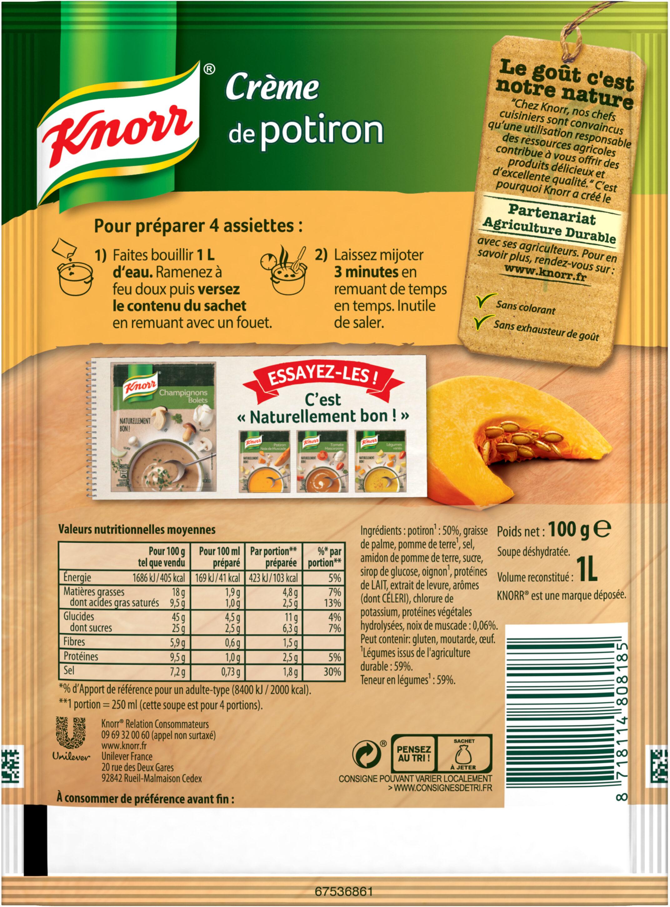 Knorr Soupe Crème de Potiron 100g 3 Portions - Ingrédients - fr