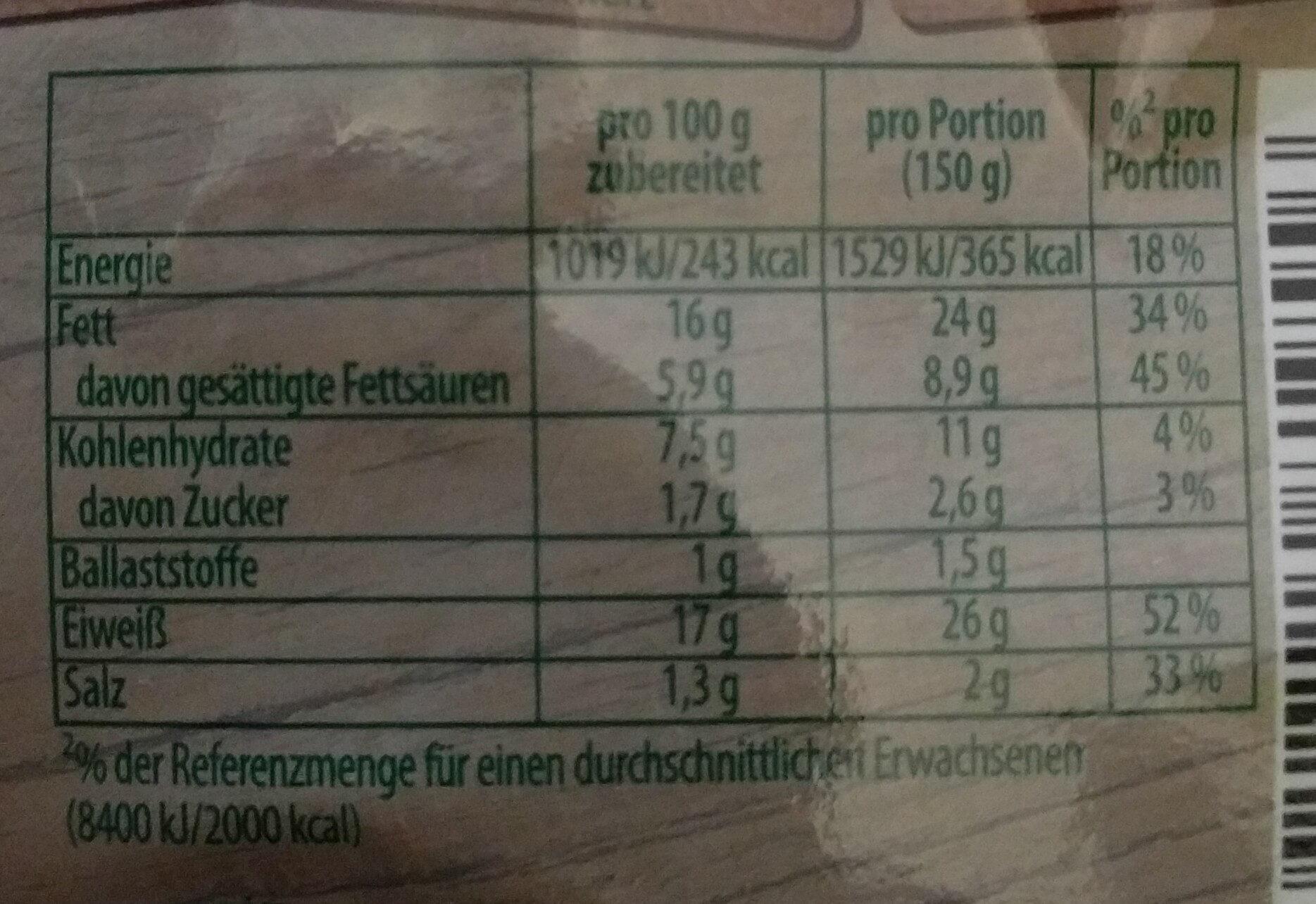 Knorr Fix, Hackbraten - Informations nutritionnelles - fr